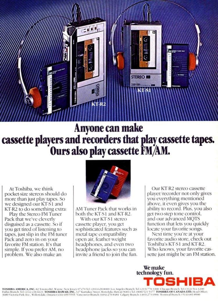 Toshiba KT-S1 cassette player 1981