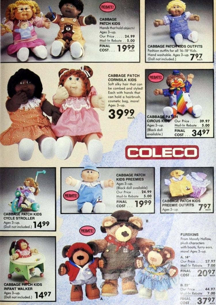 Cabbage Patch dolls & Coleco from Toys R Us catalog in 1986