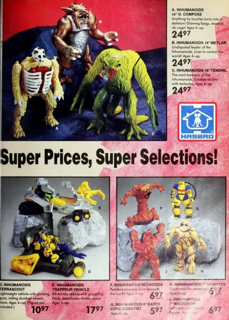 Hasbro toys, including Inhumanoids from a vintage Toys R Us catalog
