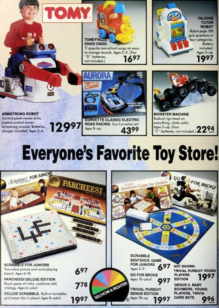 Tomy toys, including Talking Tutor -- plus Selchow & Righter games like Parcheesi & Scrabble from a vintage Toys R Us catalog