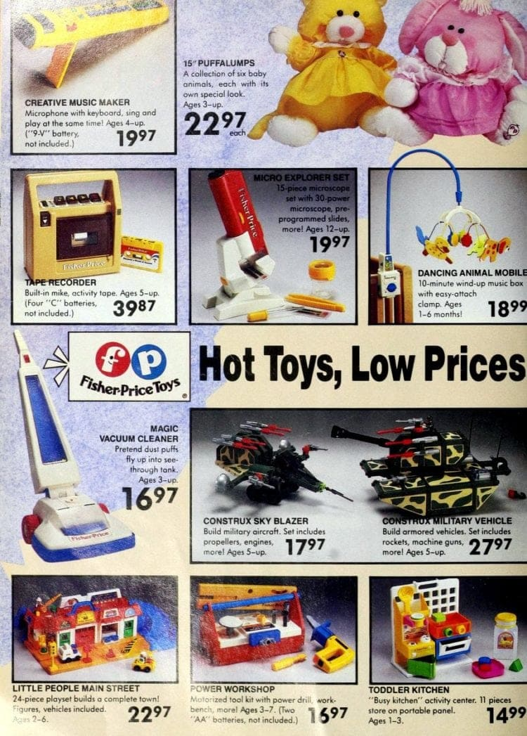 Fisher-Price toys, including Puffalumps & Construx from retro 80s toys R us catalog