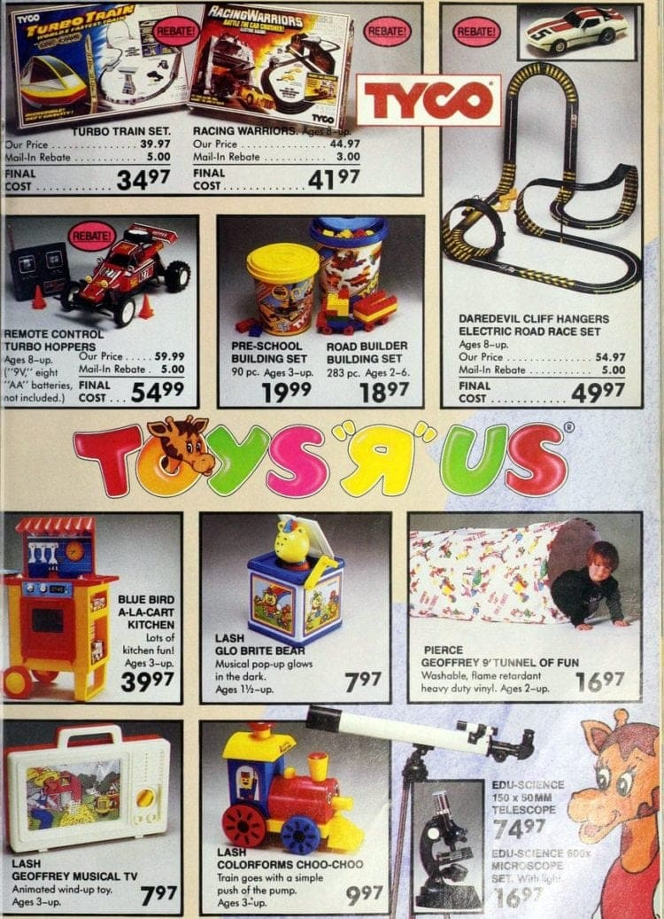 Tyco toys, including cars and trains from Toys R Us 1986