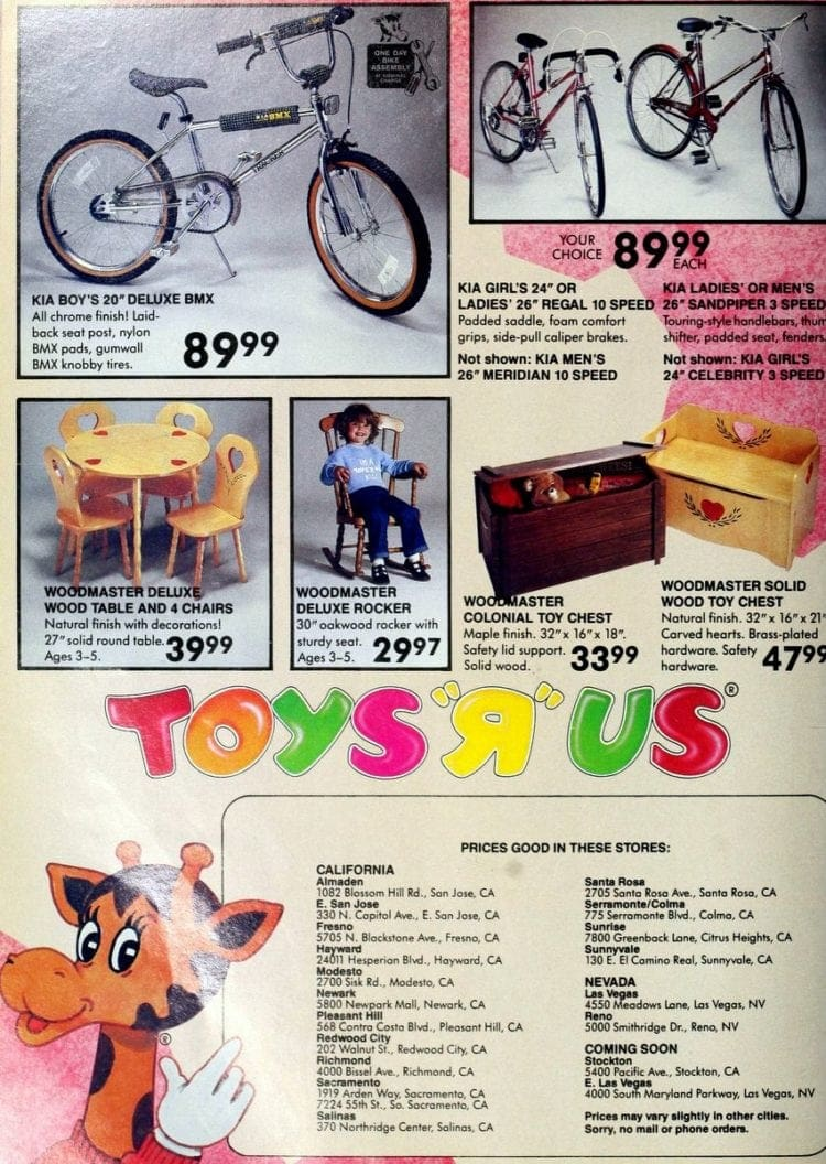 BMX bikes & Woodmaster toys and furniture from Toys R Us catalog in 1986