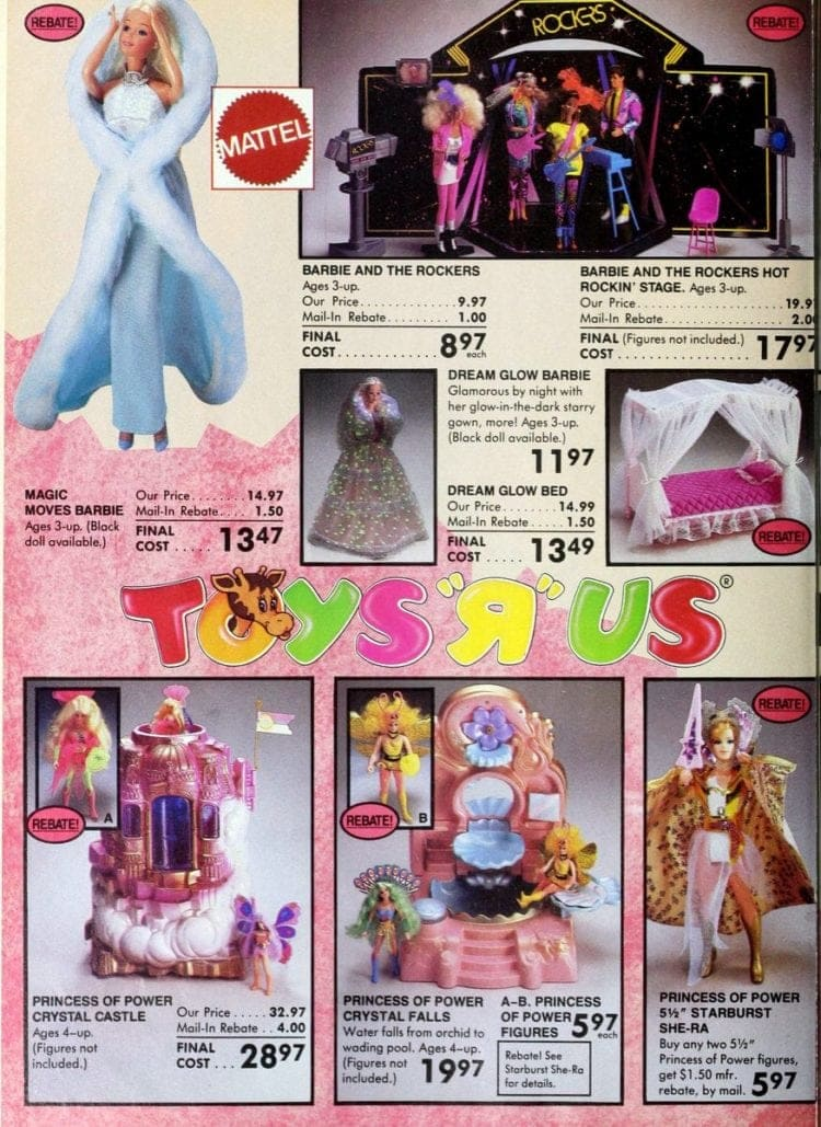Mattel & Barbie toys from Toys R Us catalog in 1986