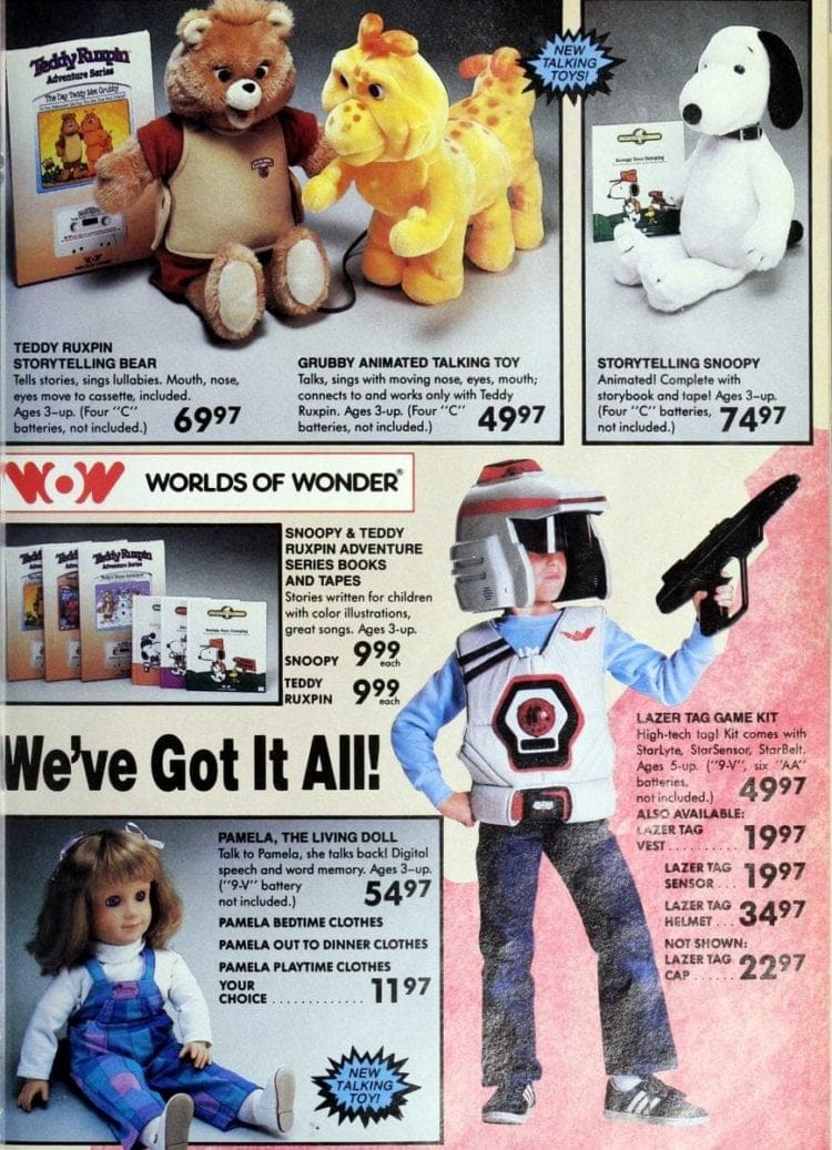 Worlds of Wonder toys, including Teddy Ruxpin & Lazer Tag from Toys R Us catalog in 1986
