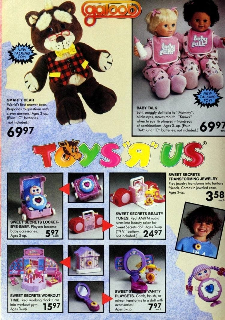 Galoob toys, including Smarty Bear & Sweet Secrets from Toys R Us catalog in 1986
