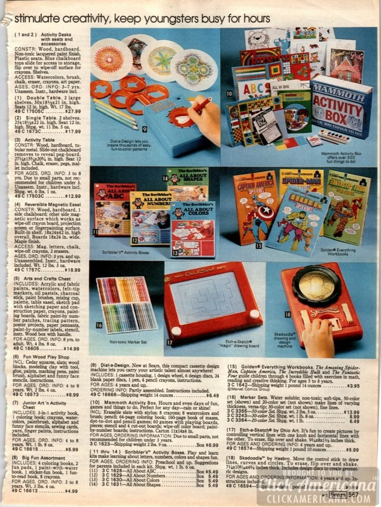 Vintage drawing toys - Etch-a-Sketch, Dial-a-Design, Hasbro Skedoodle