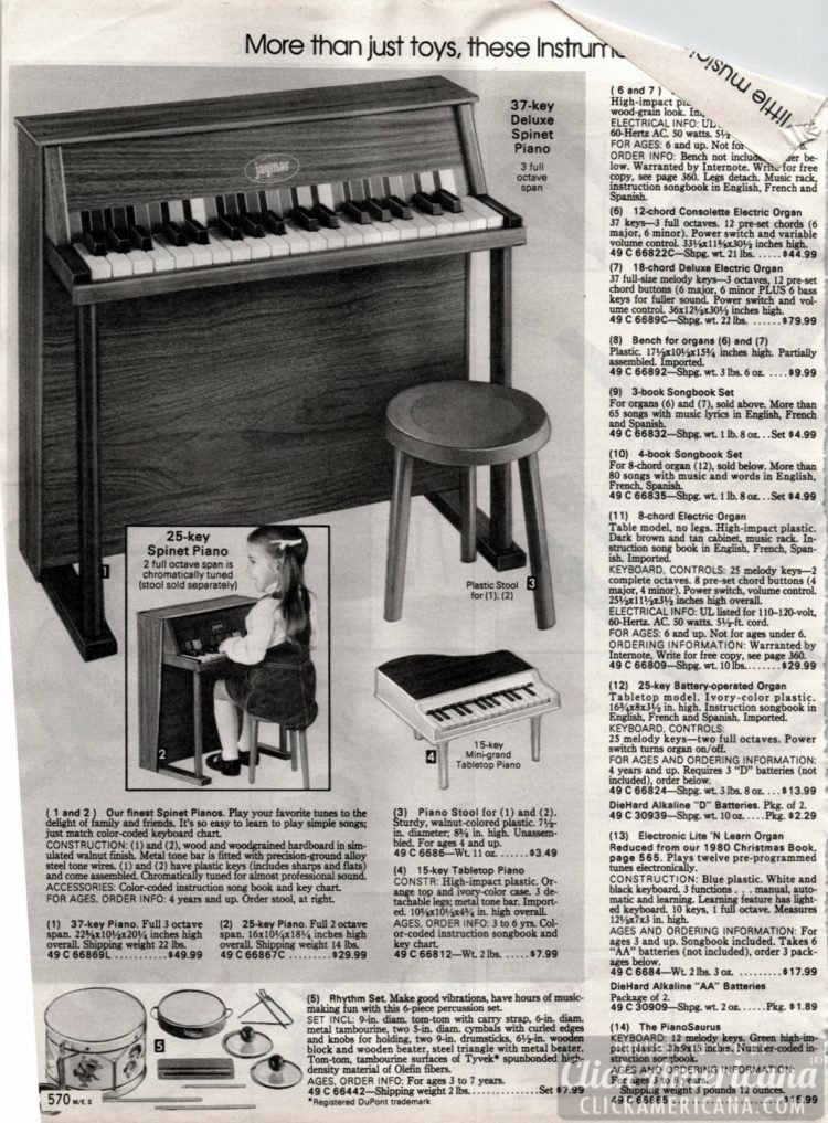 37-key Deluxe Spinet piano and other vintage musical instrument toys