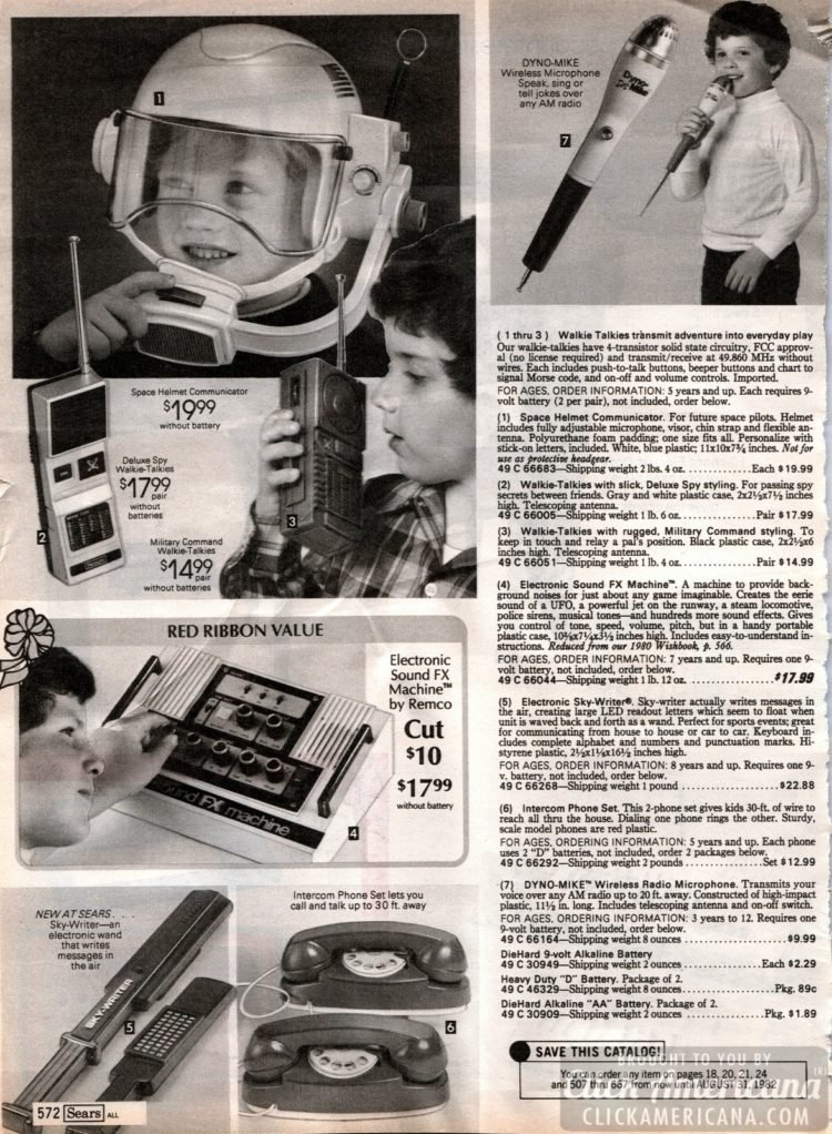 Walkie Talkies, vintage play phones, sound FX machines and toy intercoms