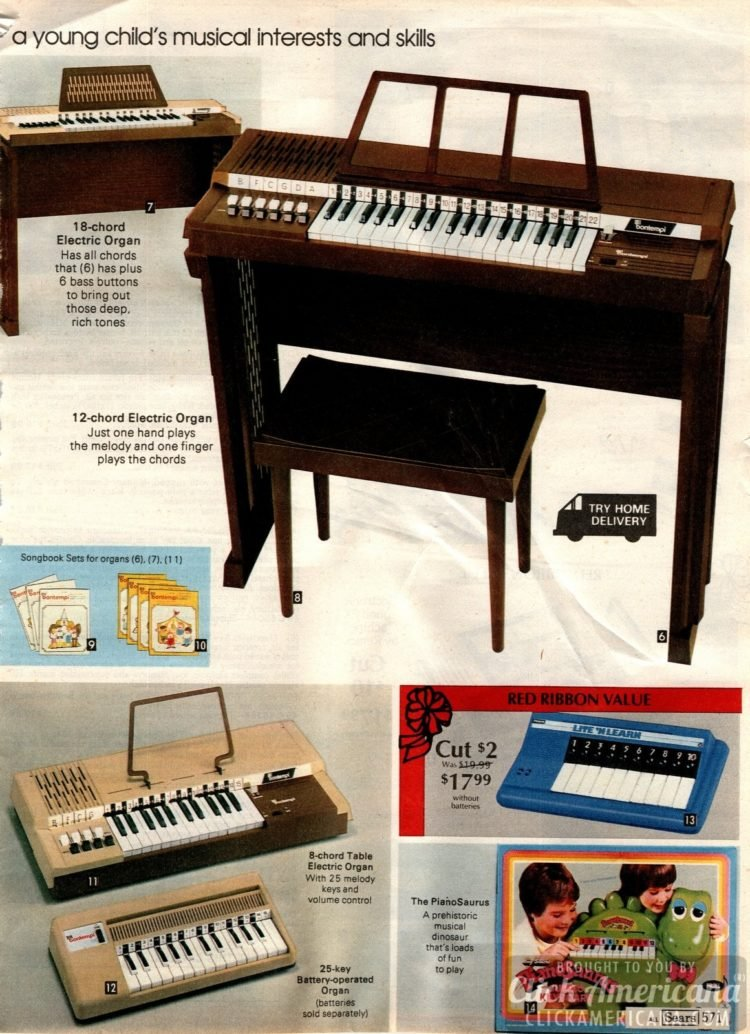 Electric organs and keyboards - and the PianoSaurus
