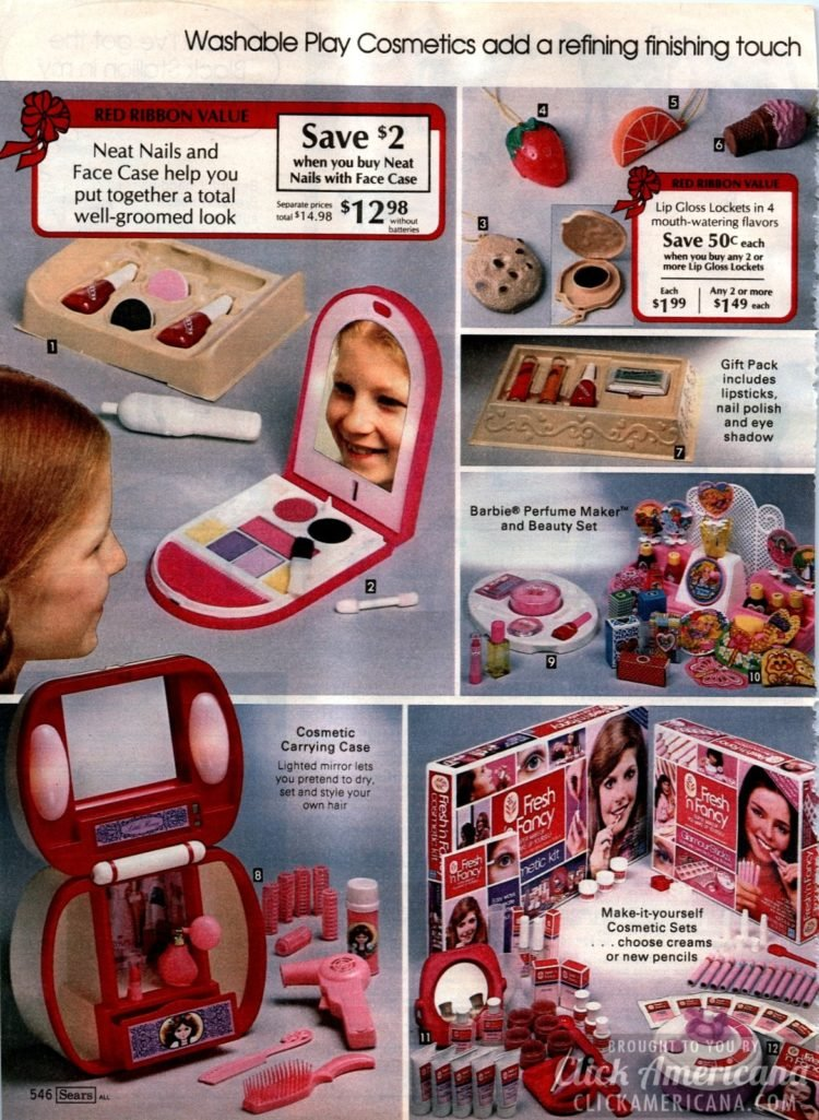 Neat Nails and Face Case, Barbie Perfume Maker, Lip Gloss Lockets and more vintage beauty toys for kids
