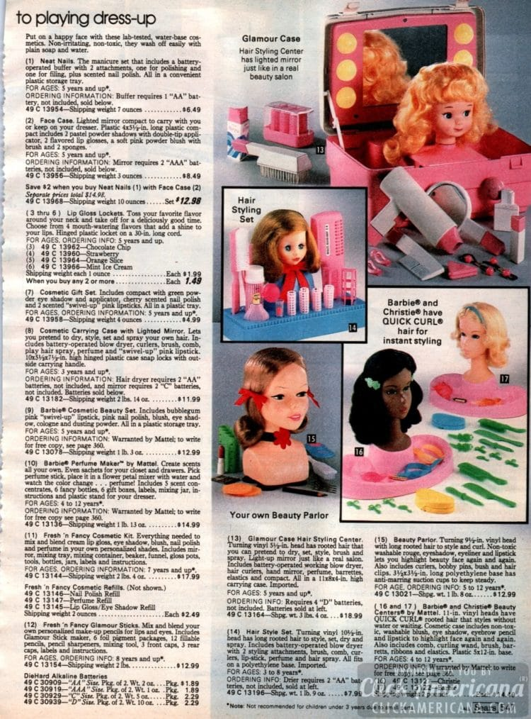 Dress-up dolls and beauty parlor toys, hair styling, makeup - Plus Christie and Barbie with Quick Curl hair