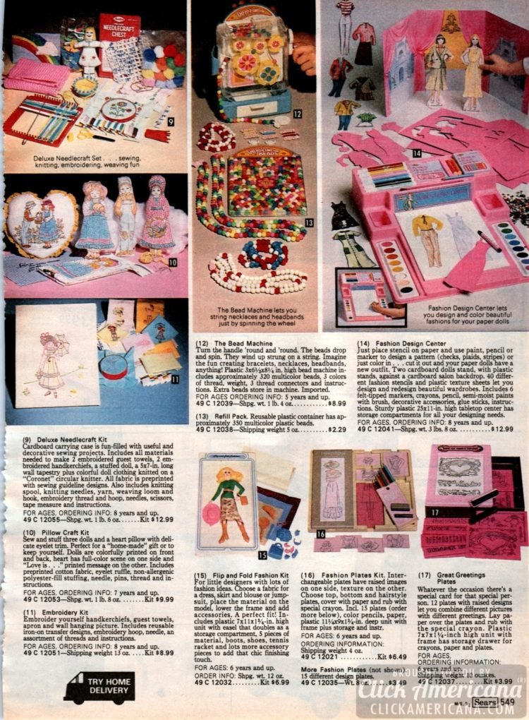 Retro creative toys: The Bead Machine, Fashion Designer Center, Fashion Plates, and sewing and craft kits