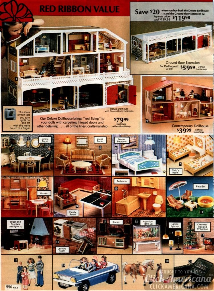 Deluxe dollhouse and all kinds of miniature furniture for the dolls