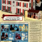 Colonial-style dollhouse and furniture for the play home