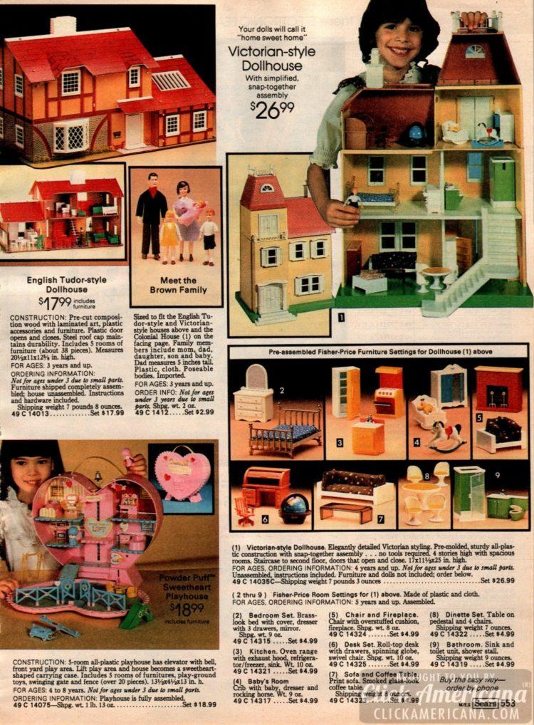 Victorian-style dollhouse, English Tudor-style dollhouse, Powder Puff Sweetheart playhouse