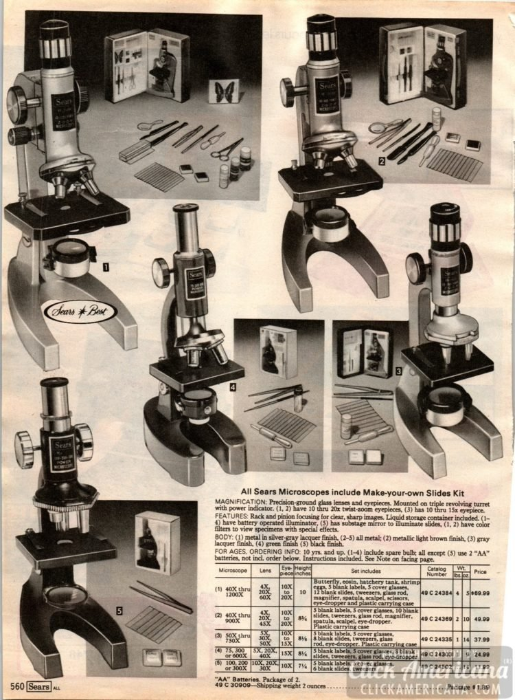Science! Vintage Sears Microscopes with make-your-own slides kit