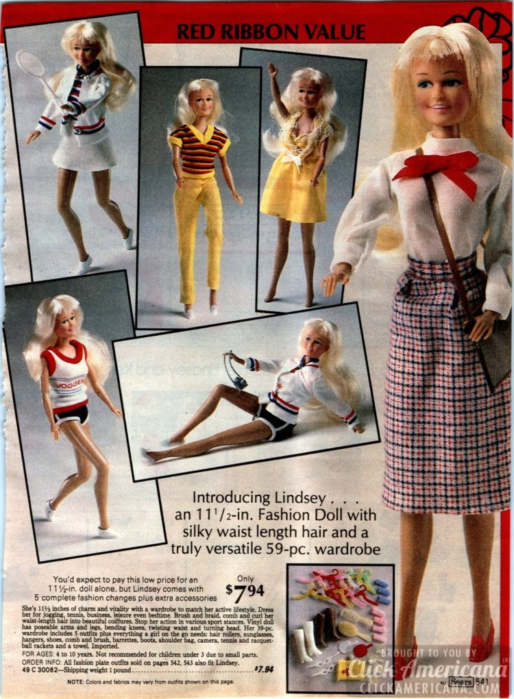 Lindsey fashion doll with waist-length hair and a versatile wardrobe