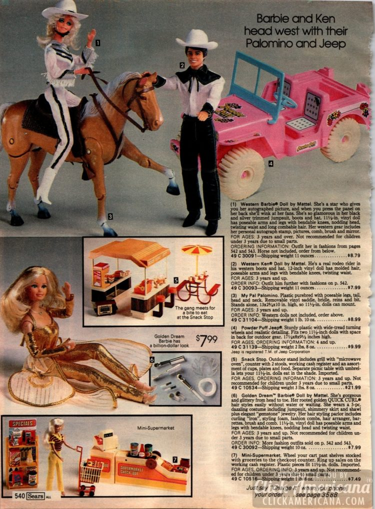 Barbie and Ken head west with their Palomino horse and pink Jeep car