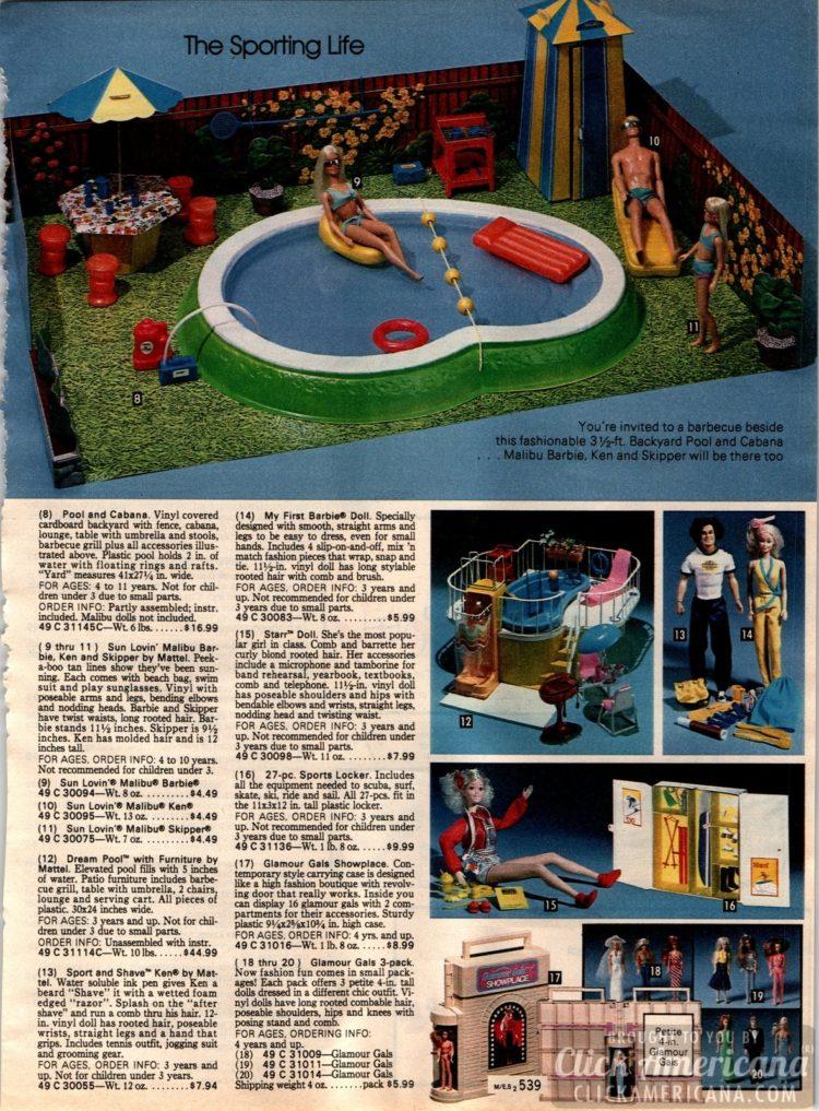Barbie's backyard pool and cabana with Malibu Barbie, Ken and Skipper