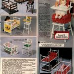 Doll toys and furniture - high chairs, beds, cradles and more