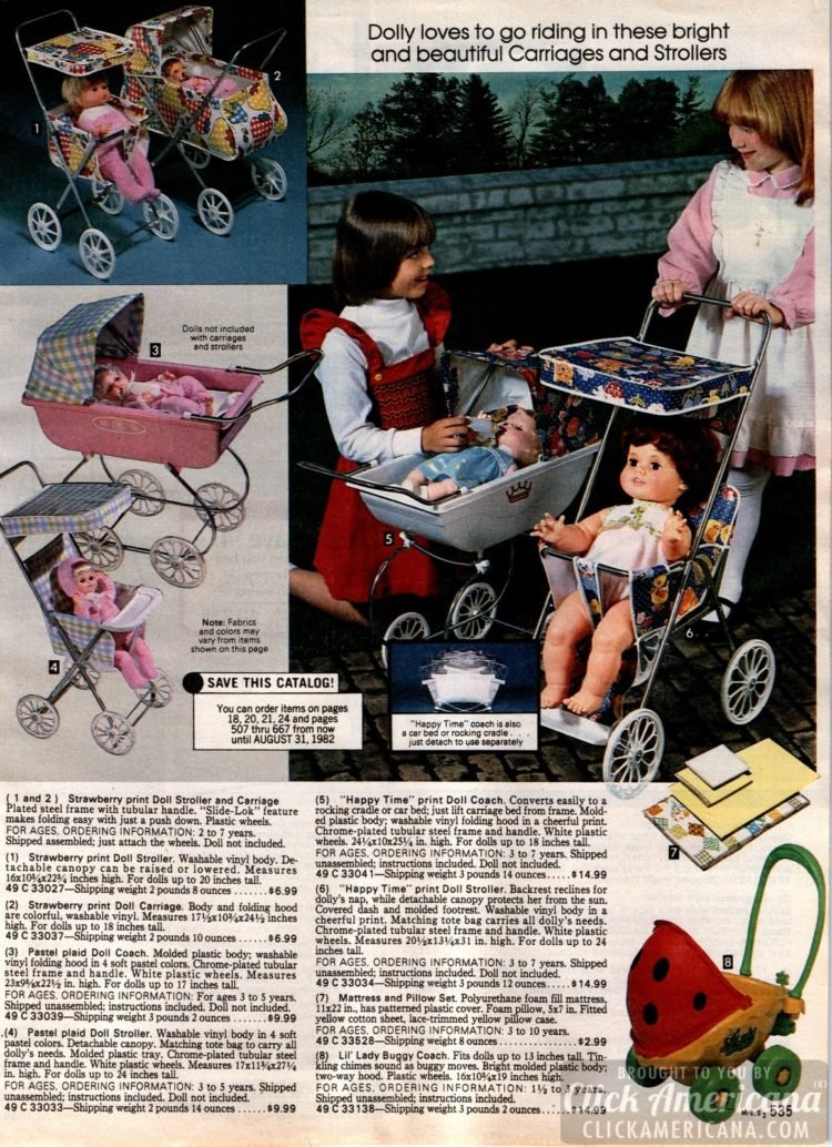 Dolly loves to go riding in these bright and beautiful doll carriages and strollers