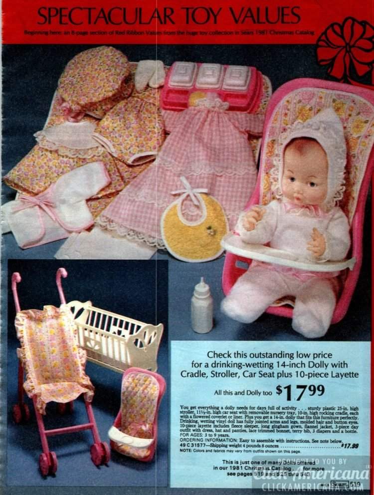 Drinking and wetting toy doll with cradle, stroller, car seat and layette from the 80s