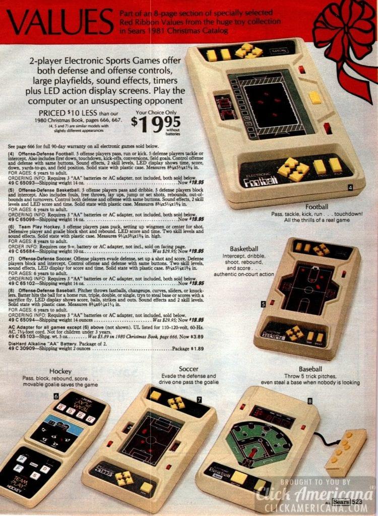 Vintage electronic sports games on handheld LED screens - Football, baseball, basketball, hockey and soccer