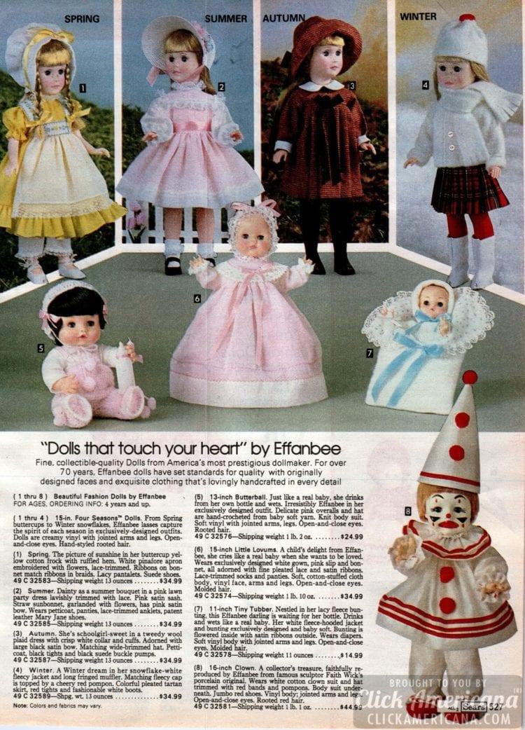 Vintage Effanbee dolls - Four Seasons (Spring, Summer, Autumn, Winter) and baby dolls
