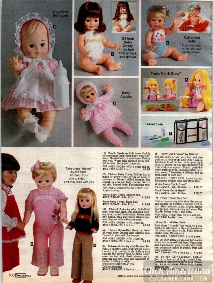 Vintage dolls and toys - Pretty Cut & Grow, Baby Crissy, Baby Agatha, Newborn Soft Love