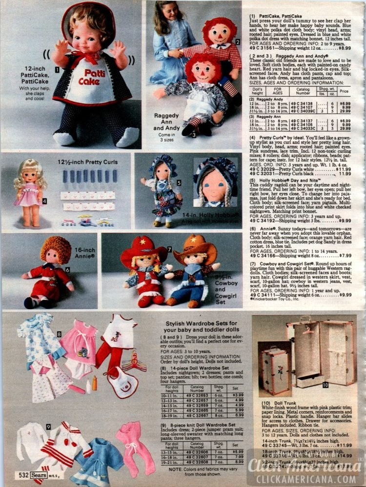 Dolls: PattiCake, Raggedy Ann and Andy, Cowboy and Cowgirl, Annie and more