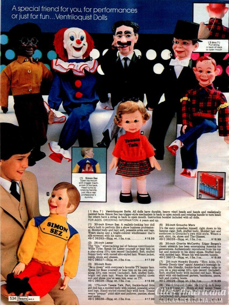 Ventriloquist dolls - Howdy Doody, Groucho Marx, Simon Sez