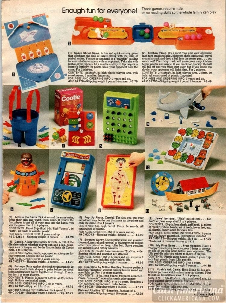 Vintage games inlcuding Ants in the Pants, Cootie, Pair-Ups, Operation, Swervin' Derby, Jaws, Frog Hoppers, Space Shoot game