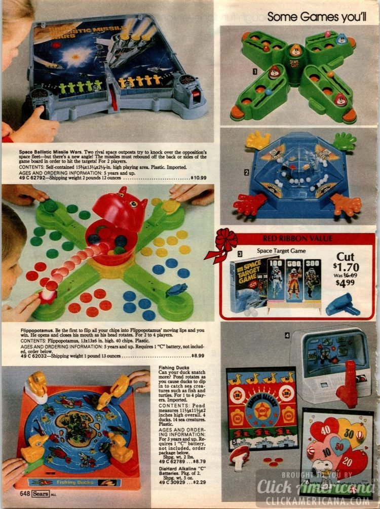 Vintage games - including Flippopotamus, Fishing Ducks, Space Ballistic Missile Wars