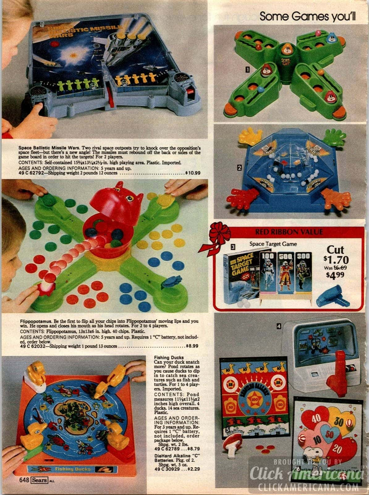 Vintage games - including Flippopotamus, Fishing Ducks, Space Ballistic Missile Wars