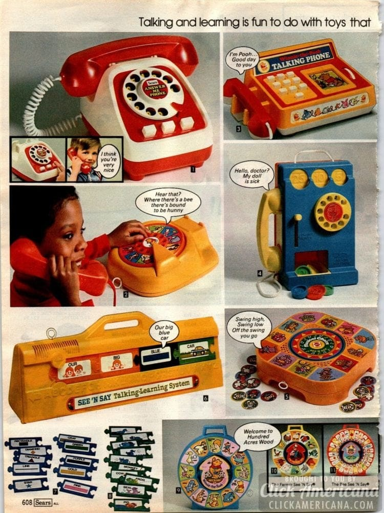 Vintage preschool toys - play phones, See 'n Say and a pretend pay phone