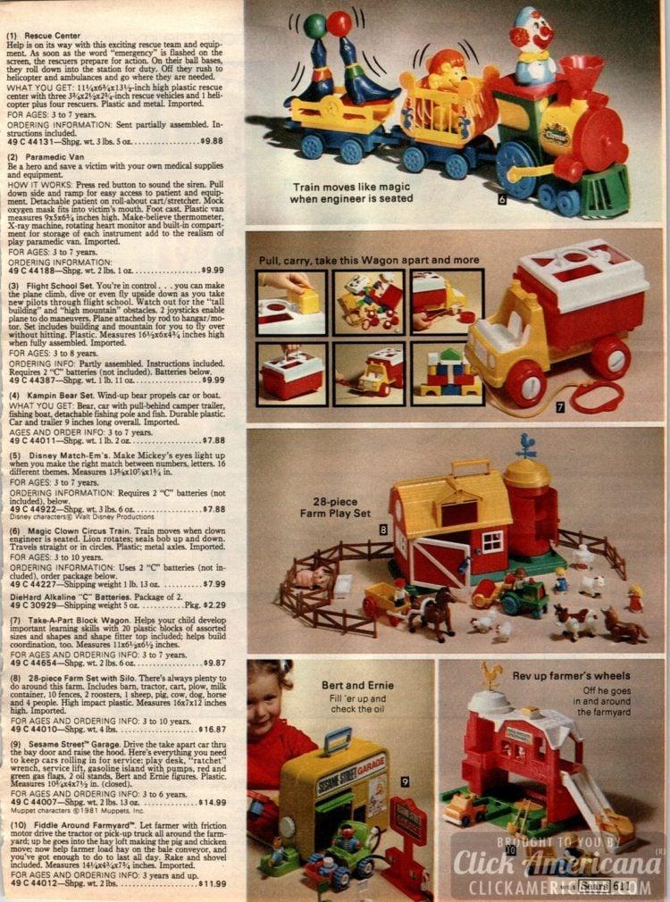 Vintage preschool toys - train, wagon, farm set, Bert and Ernie
