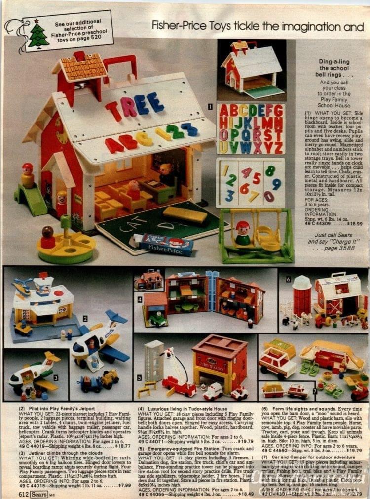 Fisher Price schoolhouse, jetport, farm, plane and more preschool toys