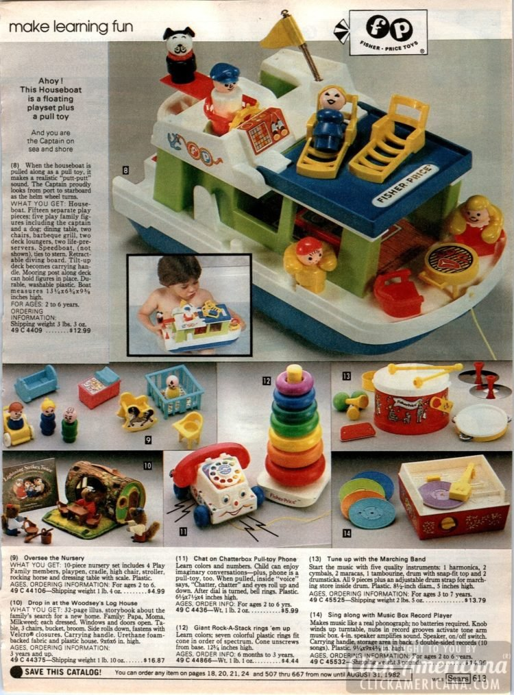 Vintage Fisher Price houseboat, chatterbox phone, music box record player and more preschool fun
