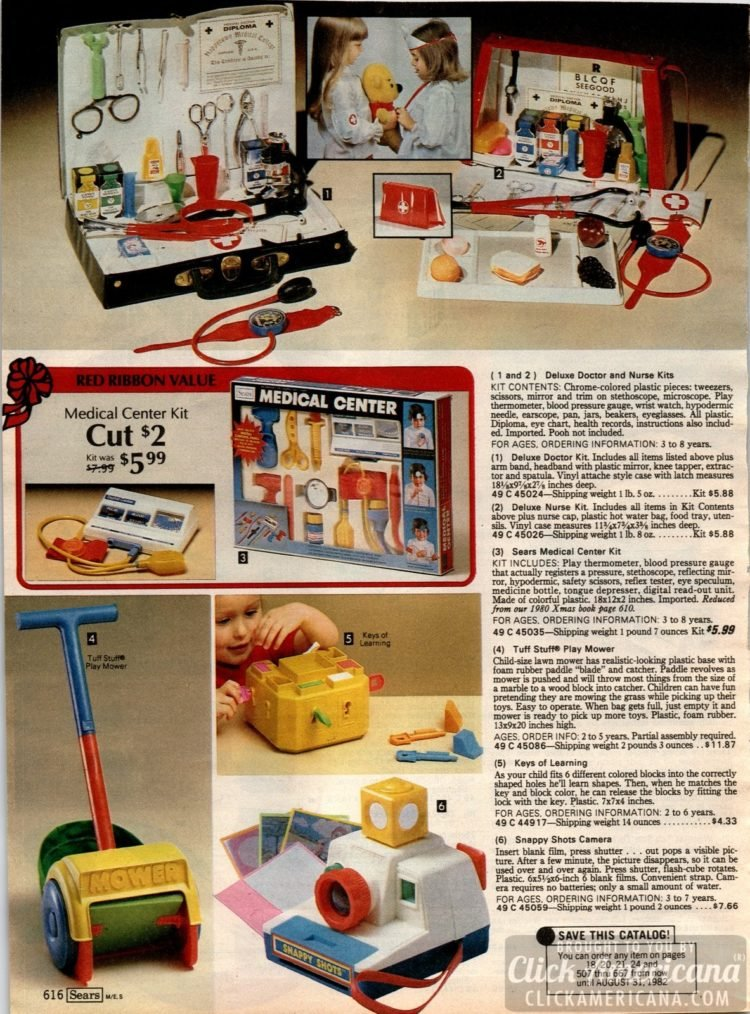 Play doctor! Medical set, doctor and nurse toy kits - also play mower and play camera