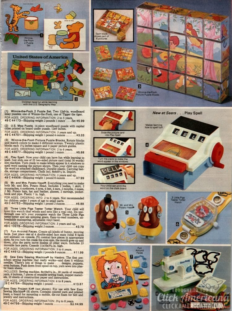Vintage puzzles, Mr Potato Head, Teeter Totter watches, block picture puzzles, US Map puzzle