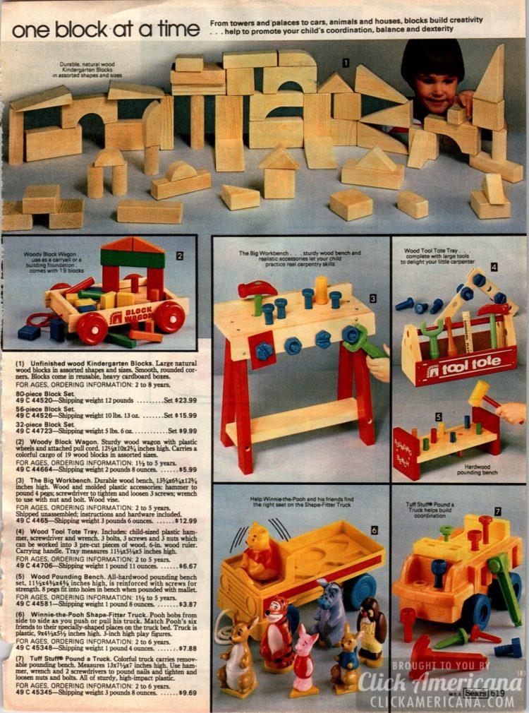 Vintage wooden blocks - Unfinished wood Kindergarten Blocks