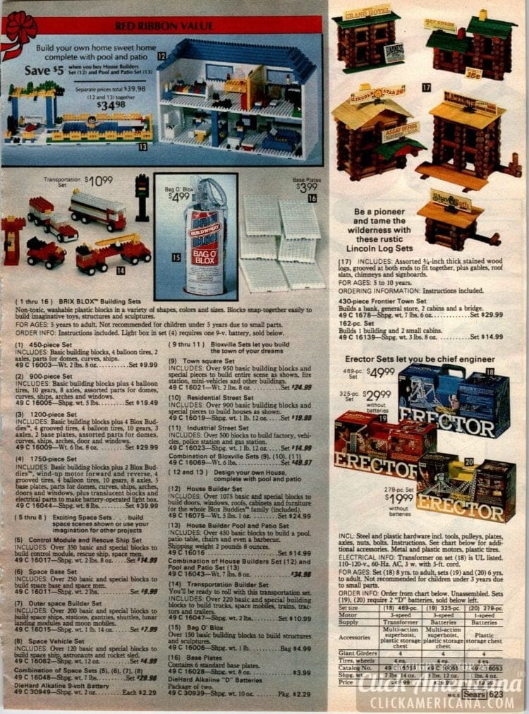 Brix Blox, Erector sets, Lincoln Log sets and other classic toys