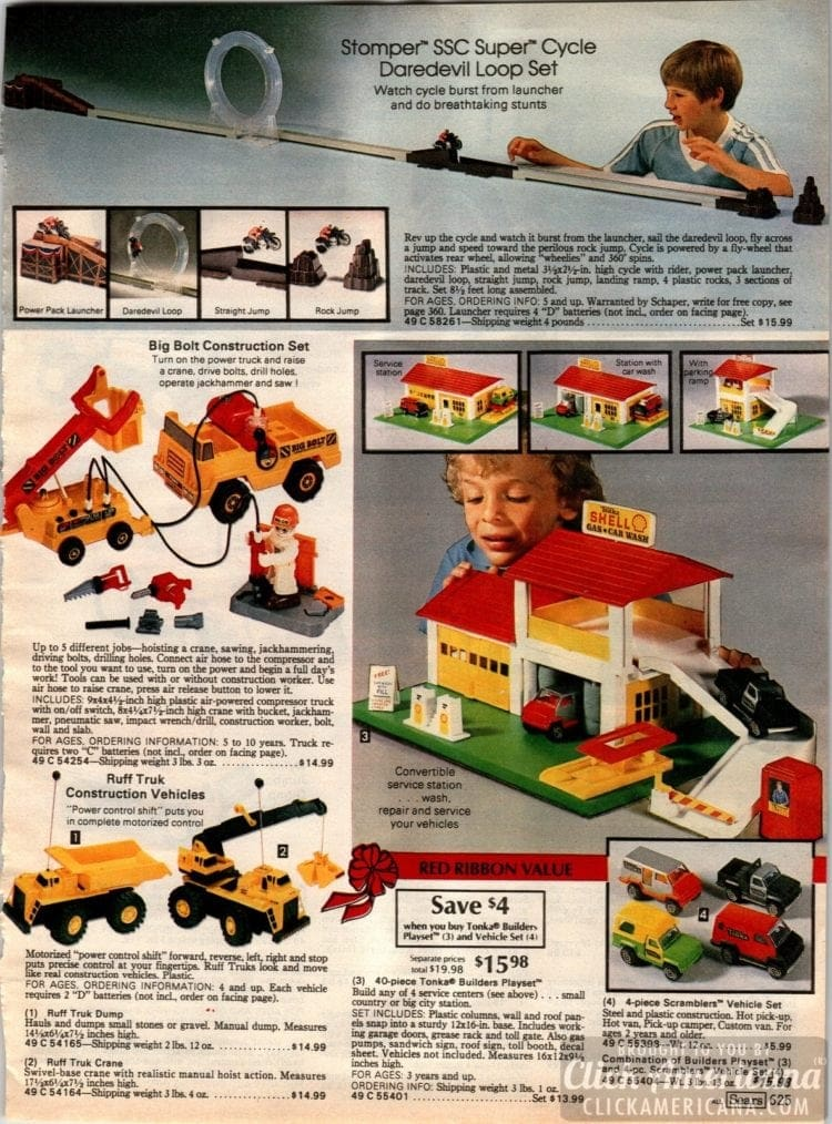 Stomper SSC Super Cycle Daredevil loop set, Shell gas station toys and Ruff Truk vehicles