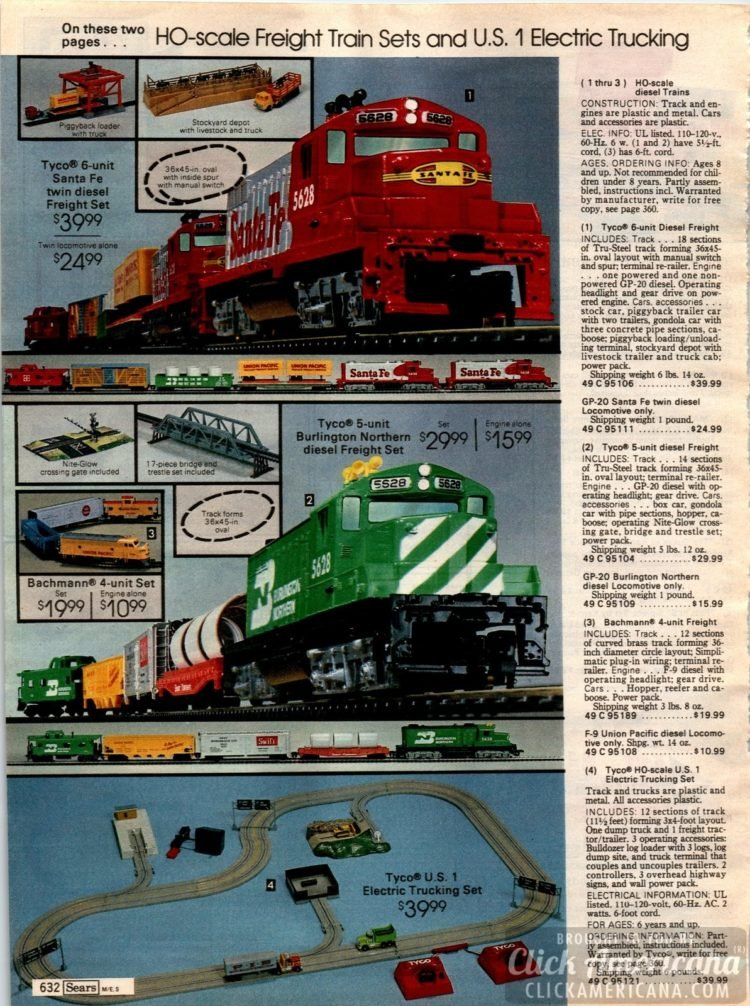 Freight train sets and other railroad toys for kids