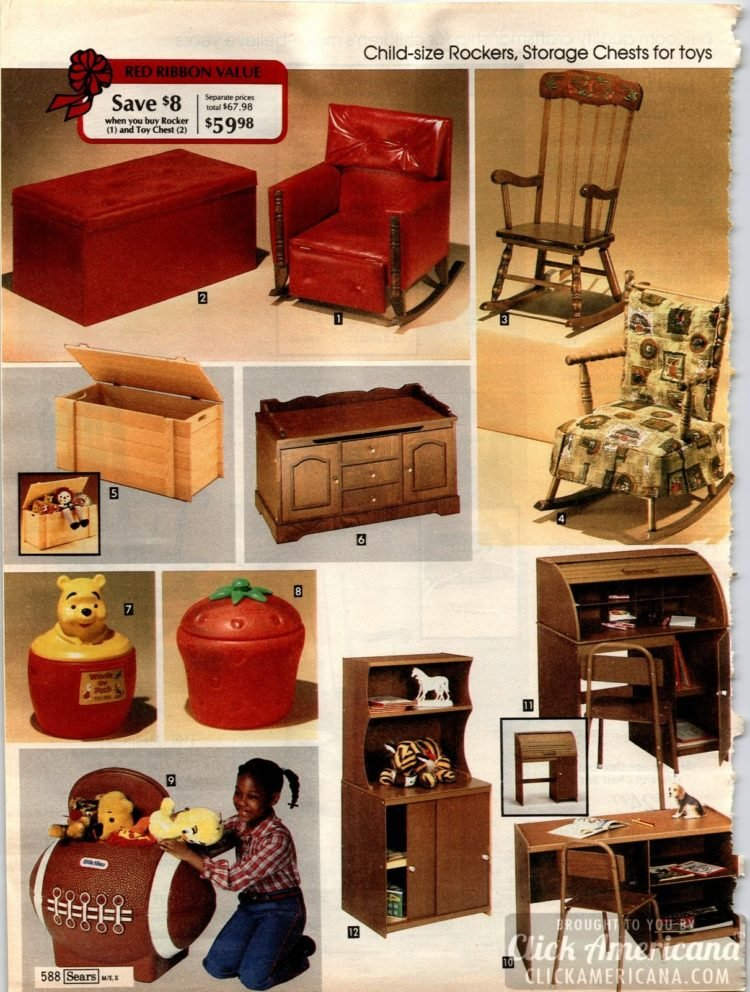 Child-size rockers, desks, storage chests, toy boxes and more small furniture