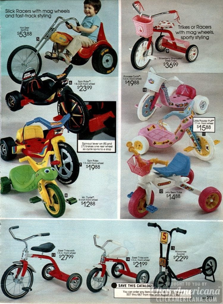 Big Wheels, Slick Racers, tricycles and more ride-on fun for little kids