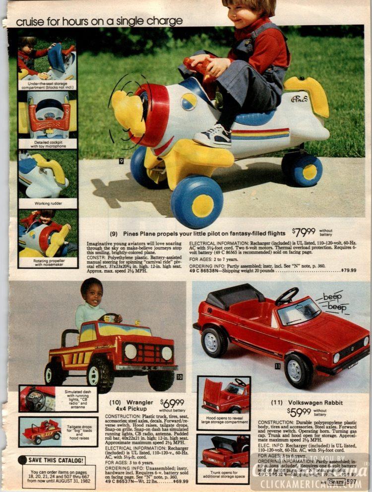 Pines Plane, Wrangler 4x4 Pickup and Volkswagen Rabbit ride-on toys for kids