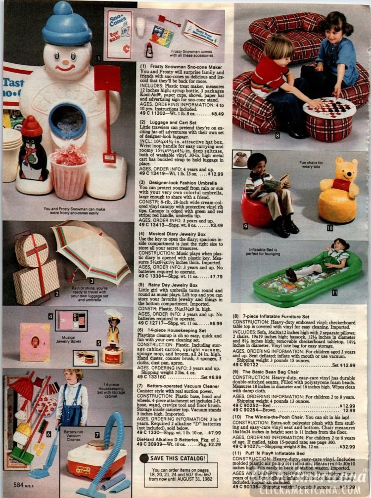 Frosty Snowman Sno-cone Maker, inflatable furniture, toy housekeeping sets, bean bag chairs and more