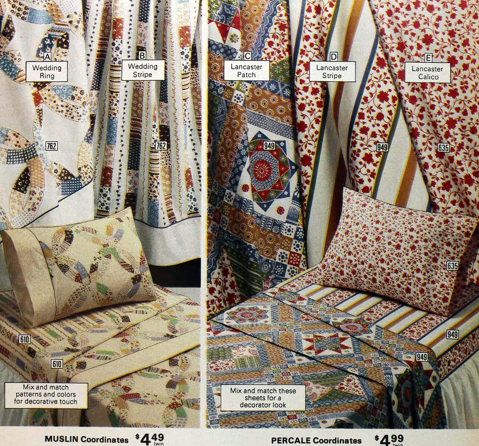 Traditional Lancaster and wedding ring patterned sheets from the 1970s